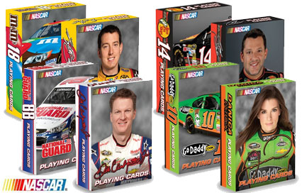 Nascar decks featuring Kyle Busch, Tony Stewart, Danica Patrick, and Dale Earnhardt Jr.